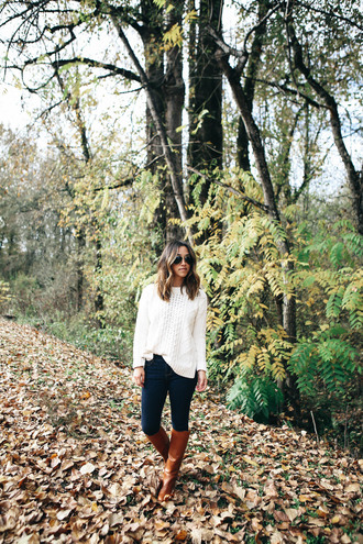 crystalin marie blogger sweater jeans shoes scarf jewels fall outfits white sweater knee high boots brown boots
