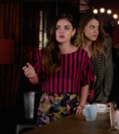 top,aria montgomery,lucy hale,stripes,pretty little liars,skirt