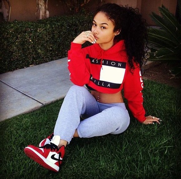 nike sneakers top sweatpants tommy hilfiger tommy hilfiger crop top dope swag urban fashion high top sneakers hip hop hip hop fashion india westbrooks red