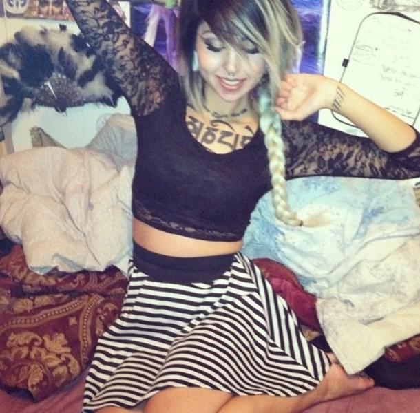 shirt lace crop tops black skater skirt stripes beetlejuice skirt