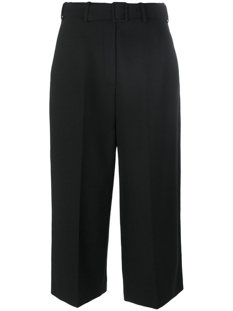 cropped women spandex black wool pants