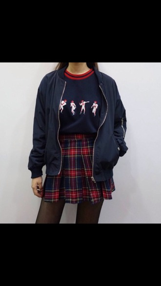 t-shirt tumblr clothes shirt outfit sweater vintage winter outfits cute top tumblr tumblr aesthetic aesthetic korean fashion plaid plaid skirt miniskirt skirt jacket football cute