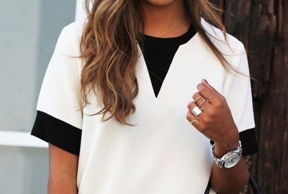 fashion streetstyle blouse tshirt fancy classy black and white white shirt black shirt watch top street style