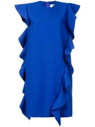 dress sleeveless dress sleeveless ruffle women spandex blue