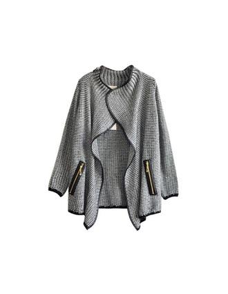 jacket grey black zip cardigan
