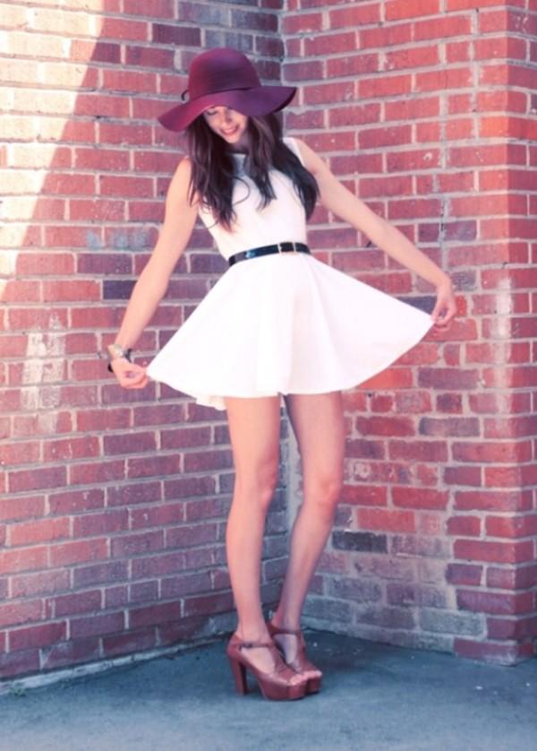 dress white dress white belt cute dress