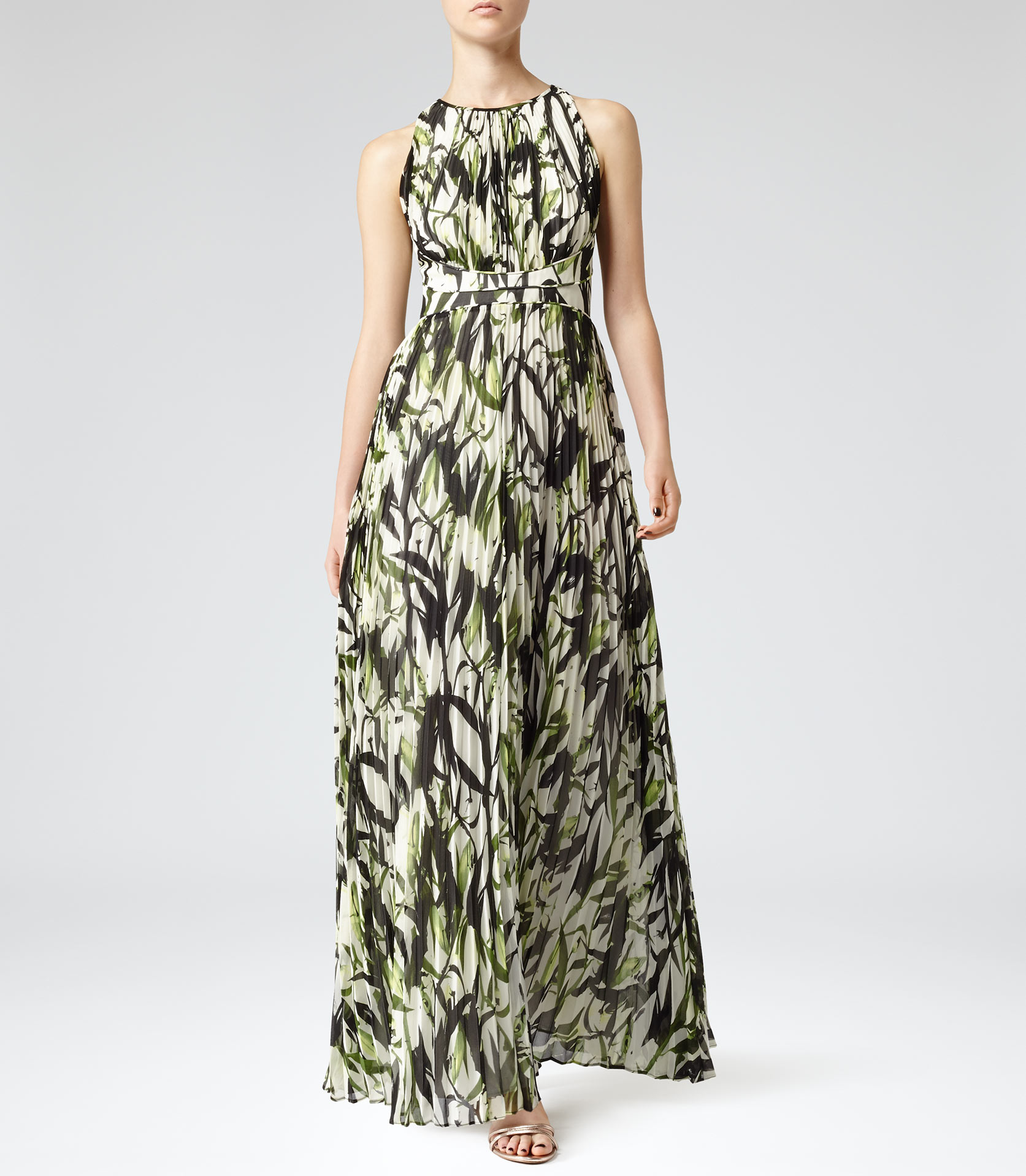 Winnie Juliet Floral Pleated Print Maxi Dress - REISS