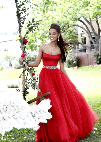dress tulle red evening