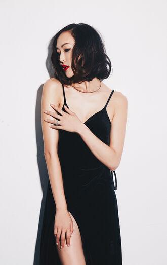 dress tumblr black dress velvet velvet dress slip dress slit dress sexy dress party dress red lipstick hairstyles party outfits party make up