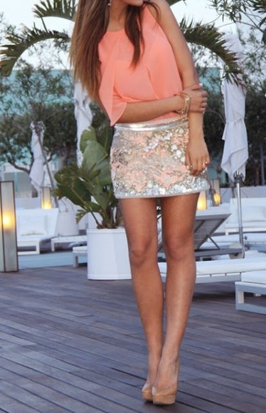 coral skirt blouse silver