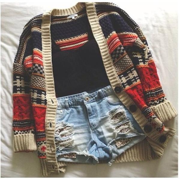 shorts cardigan High waisted shorts sweater