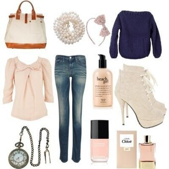 hair accessory purse pink beige pretty beautiful nail polish boots heels lolita bag jeans skinny skinny jeans blue sweater jewels pearl laces. lolita blouse long sleeves medium sleeve pink purse blouse shoes