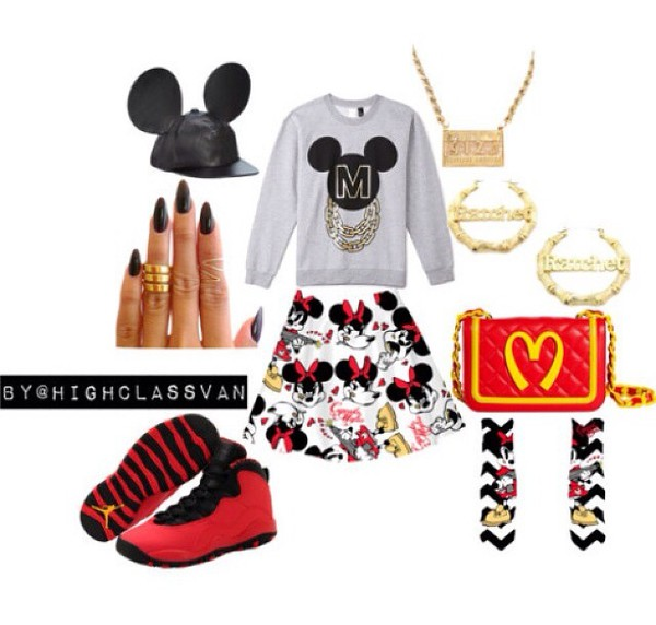 skirt mickey mouse shoes jewels top