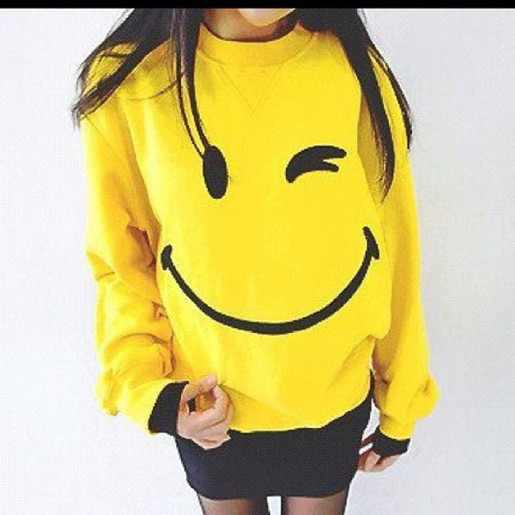 smiley face sweater clothes happy face wink yellow smiley
