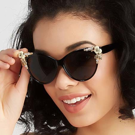 'Bees love flowers' cat eye sunglasses with crystals