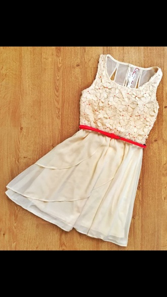 dress white lace red daisy sweet prom short