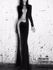 slim fit,maxi dress,see through,bodycon dress,split black dress,dress