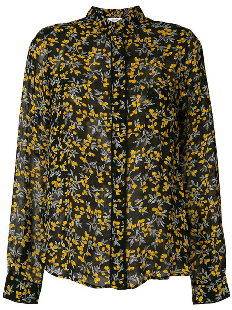Ganni shirt floral shirt long women floral black top