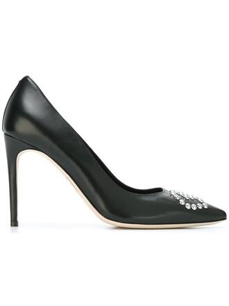 metal women pumps leather black shoes