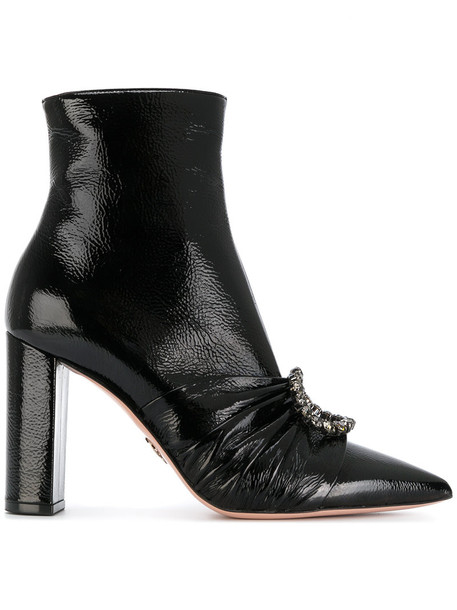 Oscar Tiye women booties leather black shoes