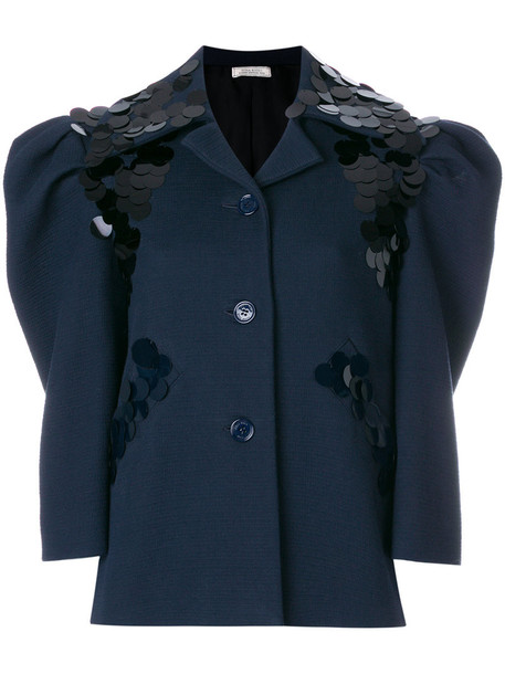 NINA RICCI jacket embellished jacket women embellished cotton blue