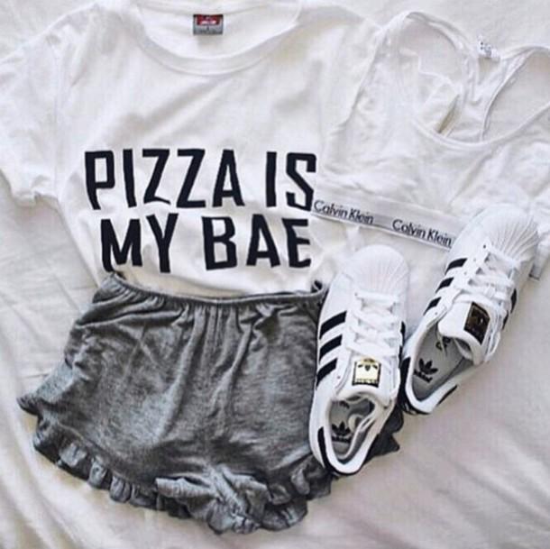 t-shirt, pizza, pizza t-shirt, white, white top, white t ...