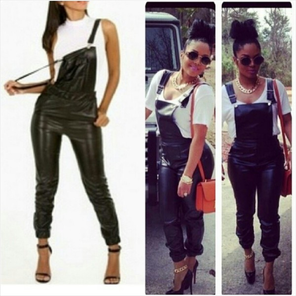 pants overalls leather overalls black leather overalls black leather