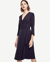 dress,midi dress,v neck,v neck dress,navy,navy dress,long sleeves,long sleeve dress