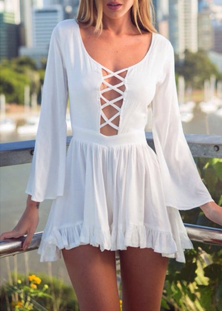 white dress mini dress summer dress bell sleeves dress white summer fashion criss cross long sleeves spring girly hot beautifulhalo romper girl girly wishlist cute style white romper