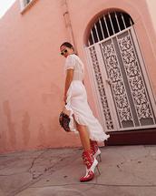 dress,ruffle dress,midi dress,white dress,cowboy boots,handbag,white sunglasses