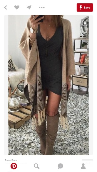 cardigan beige fall outfits dress