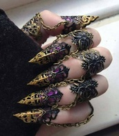 nail accessories,finger tip ring,Gothic Jewelry