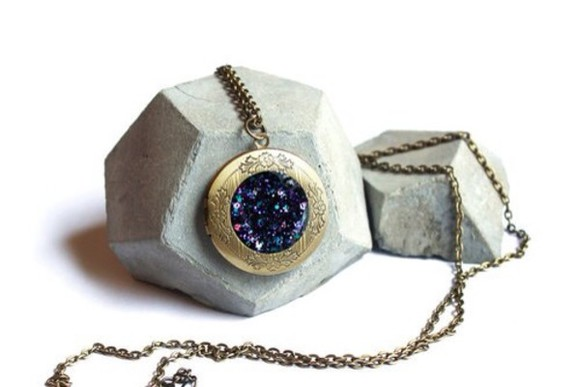 cosmic nebula jewels locket, gemstone pendant necklace