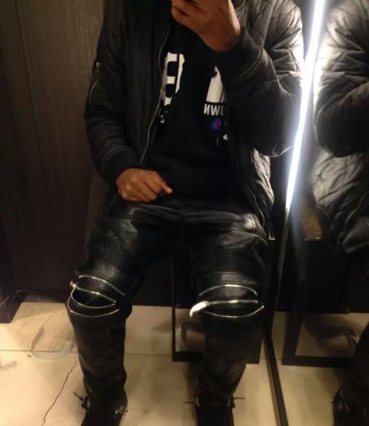 Man Cave Urban Zara : Pants leather zip zara urban