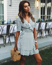 dress,tumblr,wrap dress,polka dots,mini dress,ruffle,ruffle dress,bag,basket bag