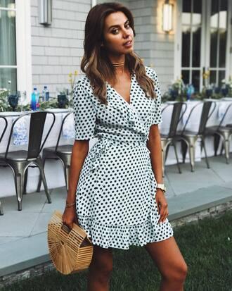 dress tumblr wrap dress polka dots mini dress ruffle ruffle dress bag basket bag