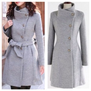 Side button down belted wool coat