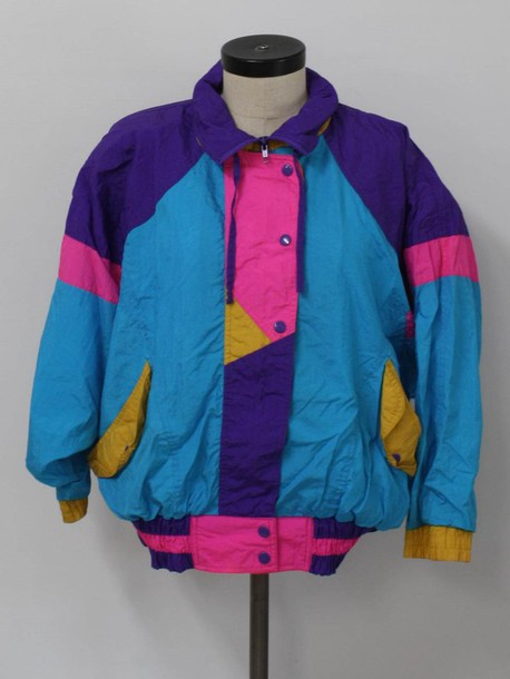 Jacket: retro, 90s style, colorful, vintage windbreaker ...
