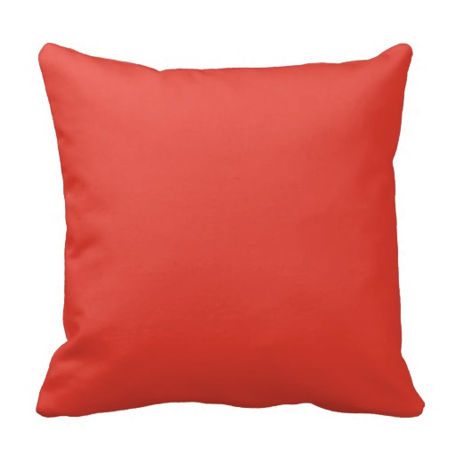 Coral Bright Red Orange Solid Colour Background Pillows
