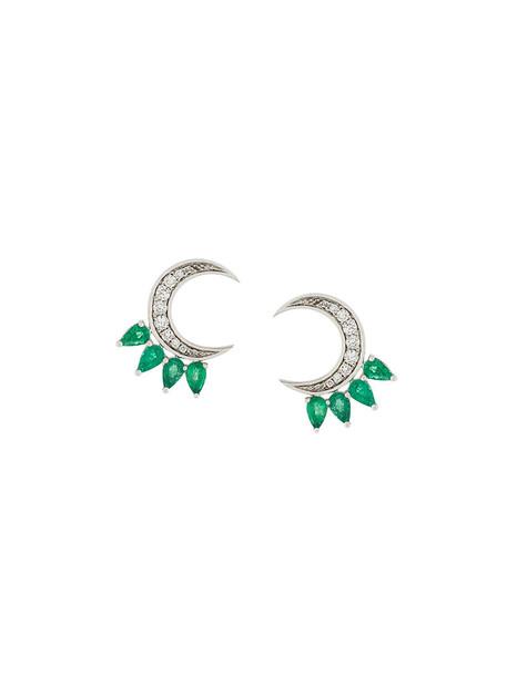 women moon earrings gold white grey metallic jewels