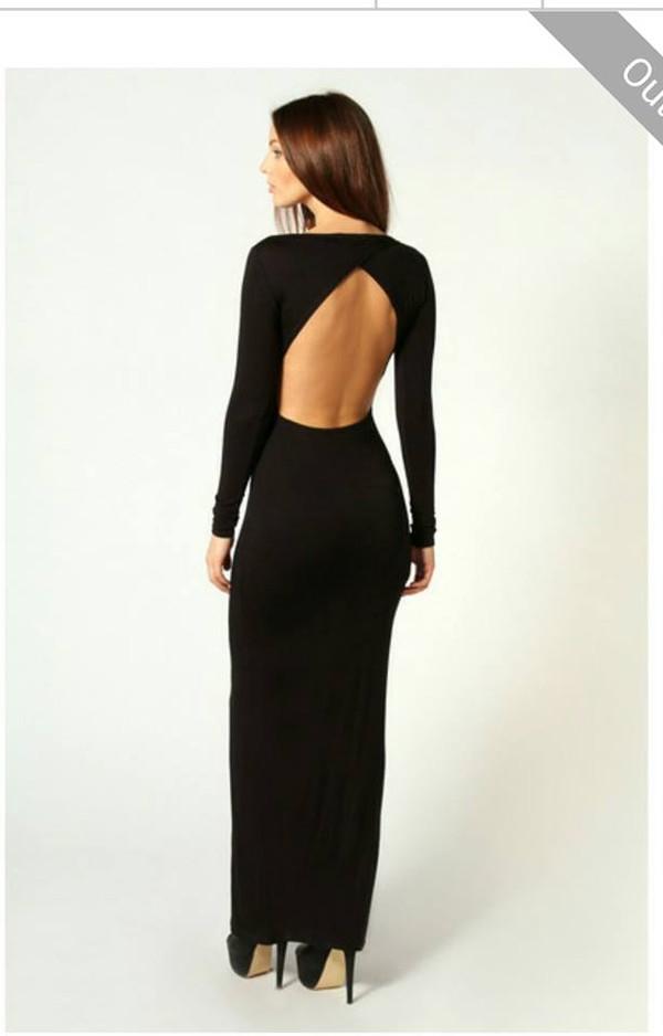 dress open back long prom dress long sleeve dress ball gown dress