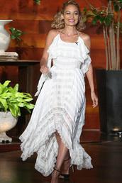 dress,white,white dress,nicole richie,asymmetrical,sandal heels,sandals,shoes