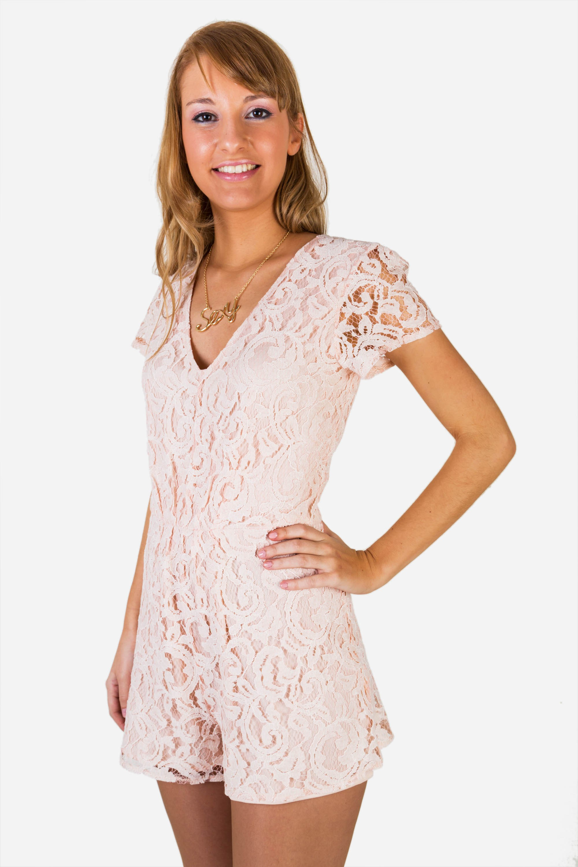Sandy lace jumpsuit in pink pale - Dresslux