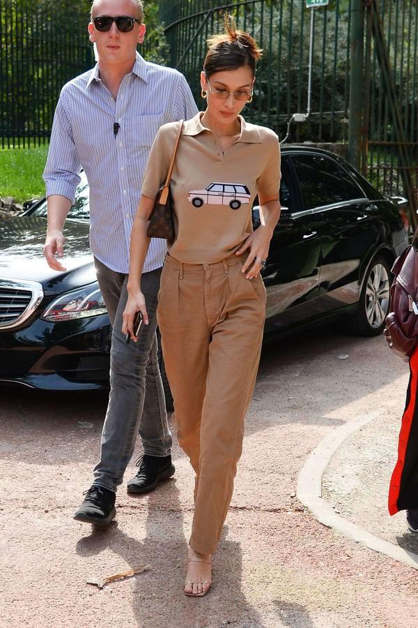 shoes fashion week streetstyle nude model off-duty bella hadid pants
