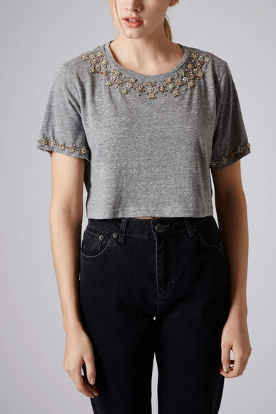 tee t-shirt grey diamante necklace tee
