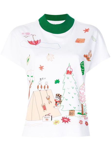 Mira Mikati - illustrated print T-shirt - women - Cotton - 34, White, Cotton
