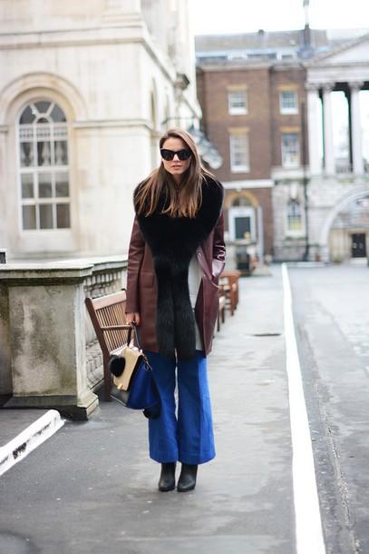 fashion vibe blogger coat 70s style wide-leg pants handbag winter coat shoes bag jeans sunglasses dress