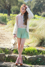chloe ting,blouse,shorts,bag,jewels,sweater