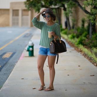 life & messy hair blogger sweater shorts shoes hat bag sunglasses jewels louis vuitton bag denim shorts sandals