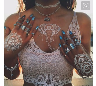 home accessory henna lace top crop tops white crop tops knuckle ring ring burning man festival music festival festival jewelry jewels